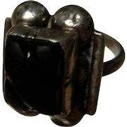 Vintage Sterling and Black Onyx Ring