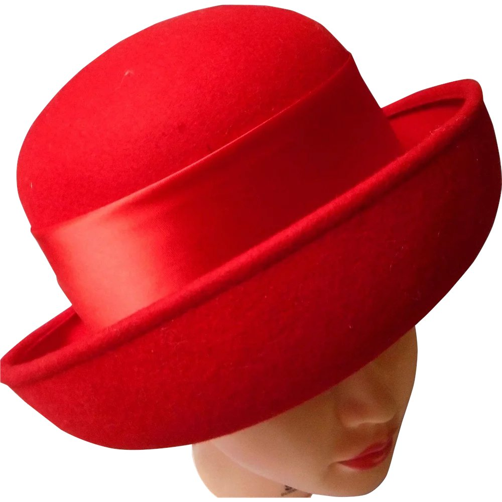 334a984a0bc209 Vintage Red Wool Women's Derby Hat : Eleanor's Legacy | Ruby Lane