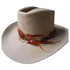 Vintage Man's Beaver Skin Hat with Feather Band