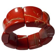 Vintage Polished Jasper Stone Bracelet.