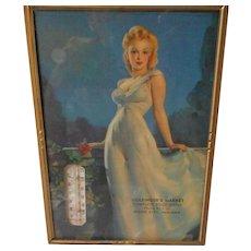 Vintage 1947 Framed Calendar, Thermometer Print