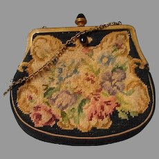 Vintage Petit-Point Purse with Black Onyx Dangle and Clasp