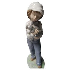Vintage Boy with Dog Lladro,Nao Figure