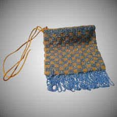 Vintage Blue Beaded Hand bag with Fringe