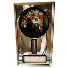Framed Mirror with Silhouette Picture and Thermometer