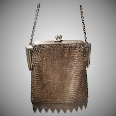 Vintage Metal Mesh Hand Bag with Metal Fringe