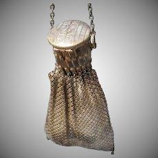 Vintage Metal Mesh Handbag with Accordion Pleated Top