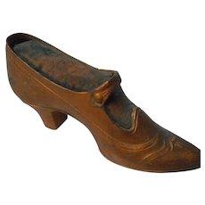 Victorian Gilded Metal Pincushion Shoe