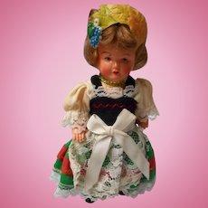 German Early Plastic Doll House Doll, Original costume