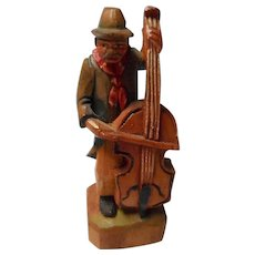 Vintage Carved Wooden Man Playing Cello