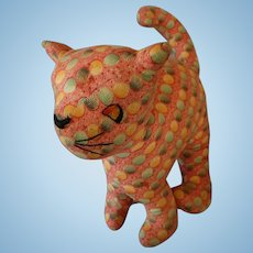 1940's Hand Sewn and Embroidered Cloth Cat