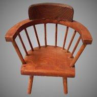 Vintage Wooden Curved Back Doll House Chair