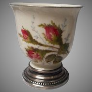 Rosenthal Moss Rose Egg Cup with Sterling Base