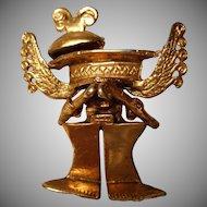 Unusual Vintage Gold Tone Alva Studio's Replica Roman Brooch