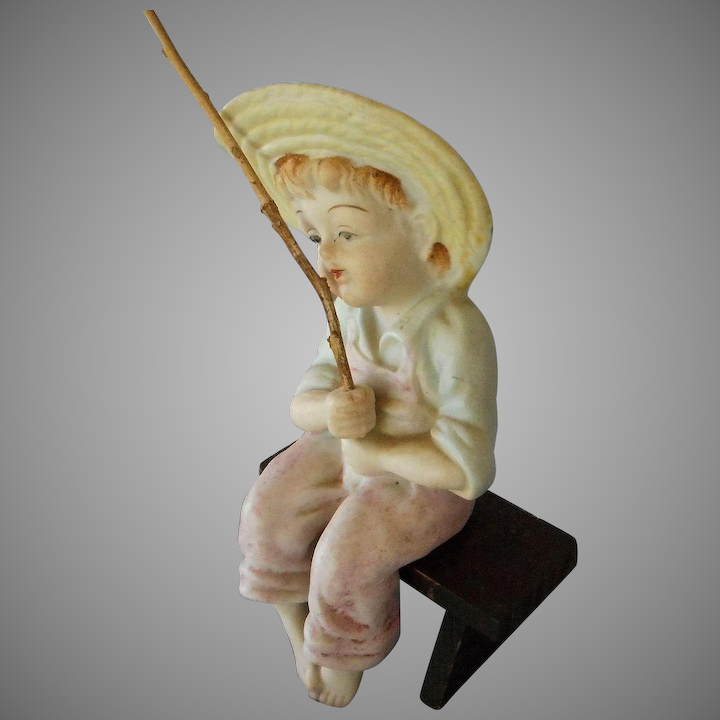 Wondrous Vintage Porcelain Boy Sitting On Wood Bench Fishing Ocoug Best Dining Table And Chair Ideas Images Ocougorg