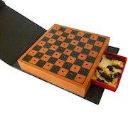 Vintage Leather Bookshelf Chess Set