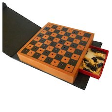Vintage Leather Bookshelf Chess Set