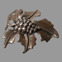 Fine Vintage Grape and Leaves Brooch, Sterling