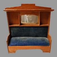 Craftsman Style Wood Doll House Settee from Germany