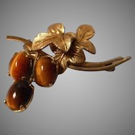 Vintage Tigers Eye Stone Brooch by Wells
