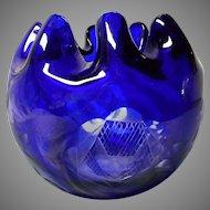 Cobalt Blue Cut to Clear Rose Bowl, Bohemian
