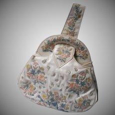 Unusual Mid Century Embroidered Handbag