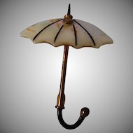 Lovely 3 Dimensional Umbrella Brooch with Enameled Handle and Mother of Pearl