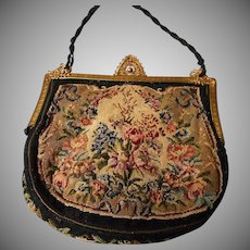 Antique German Petit Point Bag with Filigree Frame, Woven Hair Strap