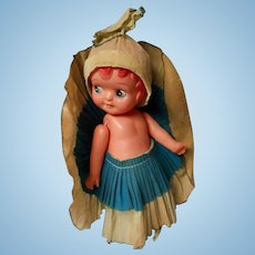 All Original Celluloid Carnival Doll with Original Outfit