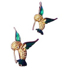 Vintage Humming Bird Enameled Brooch and Pendant