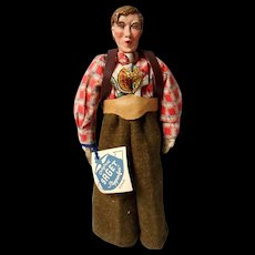 Vintage  German Hand Crafted Paper Mache Doll with original Tags