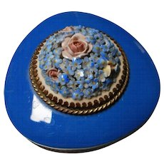 Blue Pottery Dish with Hand Applied Roses and Gilt Metal Trim, Made in Czechoslovakia