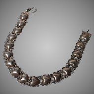 Vintage Sterling Chain and Hearts Bracelet