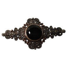 vintage Sterling Silver Black Onyx Brooch with marcasites