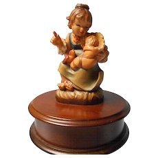 Vintage Swiss Music Box with Anri Carved Wooden Figure