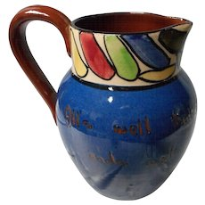 Unusual Red Clay Motto Ware Pitcher