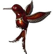 Vintage Enameled Humming Bird Brooch