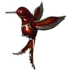 Vintage Enameled Humming Bird Brooch