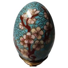 Vintage Cloisonne Egg with Metal Stand
