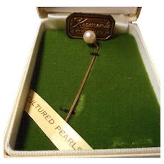 Vintage Krementz Cultured Pearl Pin