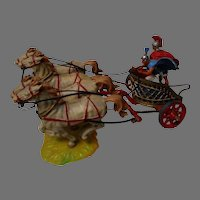 vintage Early Plastic Horse and Chariot, Germany