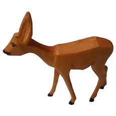 Vintage Carved Wooden Deer