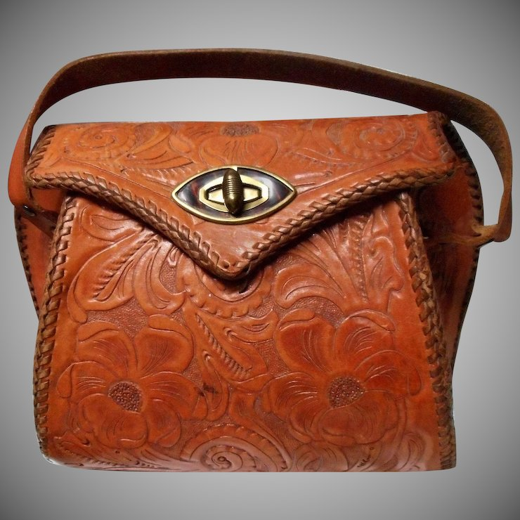 Vintage Hand Tooled Leather Purse Reptile Interior