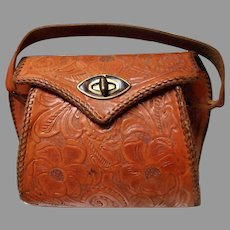 Vintage Hand Tooled Leather Purse, Reptile Interior