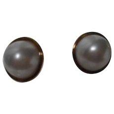 Sterling Pierced Faux Mabe Pearl Earrings