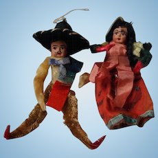 Vintage Papier Mache and Pipe Cleaner Dolls