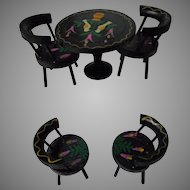vintage Hand Painted Wooden Table and Chairs for Doll House