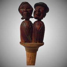 Vintage Anri Animated Carved Wooden Bottle cork