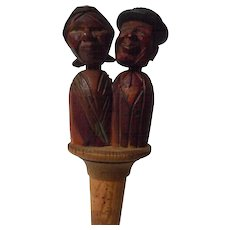 Vintage Anri Animated Carved Wooden Bottle cork