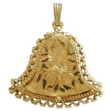 Fine 14K Gold Bell Locket Pendant